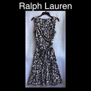 RALPH LAUREN Black & White Size 6 Dress